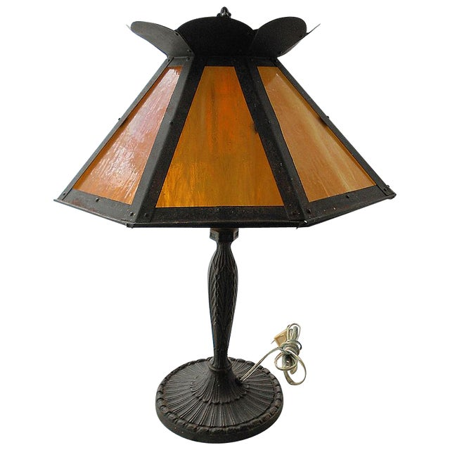 Antique Pittsburgh Lamp With Eight Panel Shade - Image 1 of 9