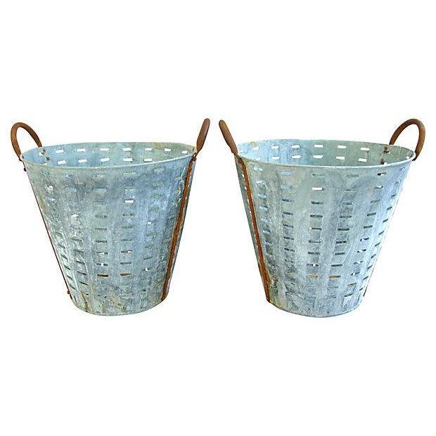 Image of Vintage Large European Harvest Baskets - Pair