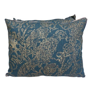 Pair of Stenciled Teal & Gold Linen Pillows