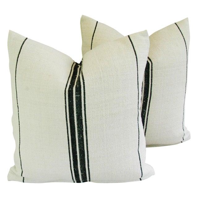 French Black Stripe Grain Sack Pillows - Pair - Image 1 of 8