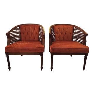Orange Velvet Tufted Caned Barrel Chairs - A Pair