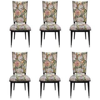 French Art Deco Ebonized Walnut Dining Chairs - Set of 6