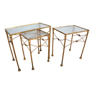 Gold Metallic Nesting Side Tables - Set of 3