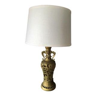 Japanese Reticulated Dragon, Lotus & Bamboo Motif Table Lamp