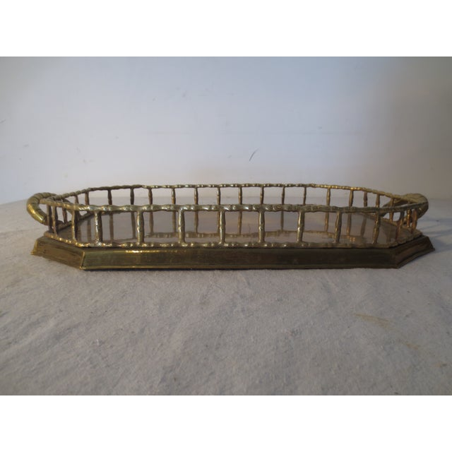 60s Brass Serving Tray With Gallery - Image 4 of 7