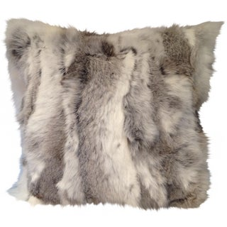 Grey Rabbit Fur Pillow