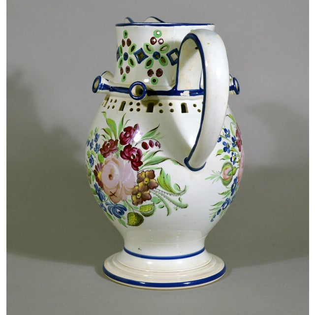 Image of Newcastle Pearlware Botanical Pottery Presentation Puzzle Jug, Inscribed John Denvell, Long-Benton & Dated 1830.