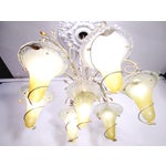 Image of Vintage Art Glass Tole Style Chandelier