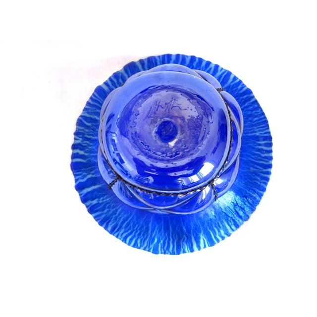 Metal Caged Iridescent Blue Glass Bowl - Image 4 of 6