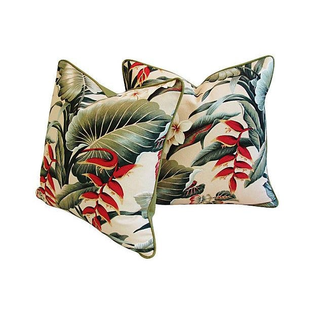 Lush Tropical Floral Barkcloth Pillows - Pair - Image 7 of 7
