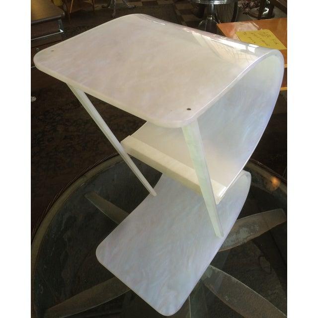 Art Deco Pearlized White Lucite 2 Tier Shelf - Image 3 of 8