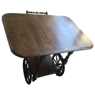 Vintage Traditional Rolling Serving Bar Table