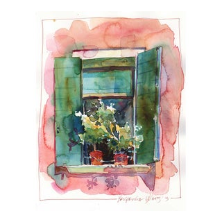 "Yevgenia Watts ""Italian Window II"" Original Watercolor Painting"