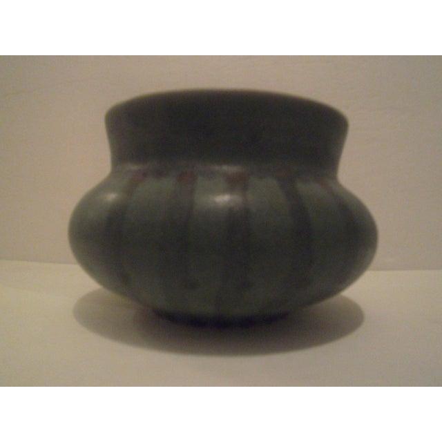Image of Green Striped Art Pottery Pot