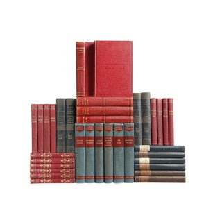 Vintage Prussian Blue and Crimson Books, S/35