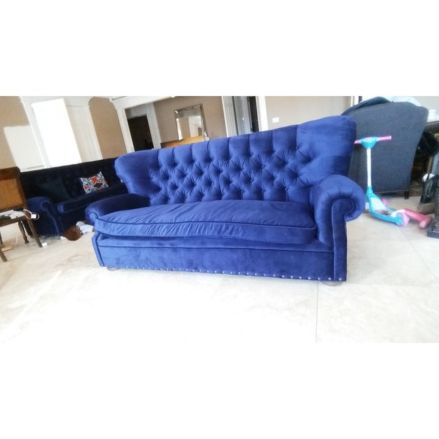 Restoration Hardware Churchill Blue Velvet Sofa - Image 3 of 6