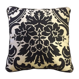 Black & White Floral Houndstooth Decor Pillow