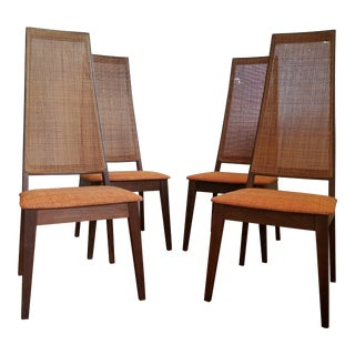 Tempo of California Mid-Century Cane Back Dining Chairs - Set of 4
