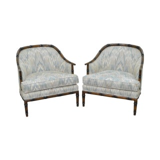 Vintage Quality Pair of Faux Bamboo Barrel Back Lounge Club Chairs