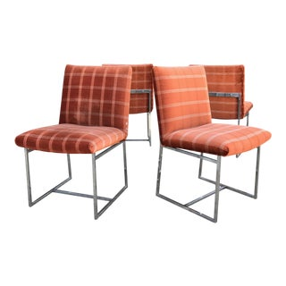 Milo Baughman Dinning Velvet & Chrome Chairs - Set of 4