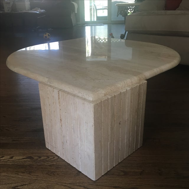 solid beige marble coffee table chairish. Black Bedroom Furniture Sets. Home Design Ideas