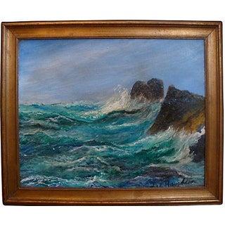 Crashing Surf Seascape Vintage Oil Painting