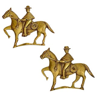 1950s Gilt Horseback Wall Plaques - A Pair