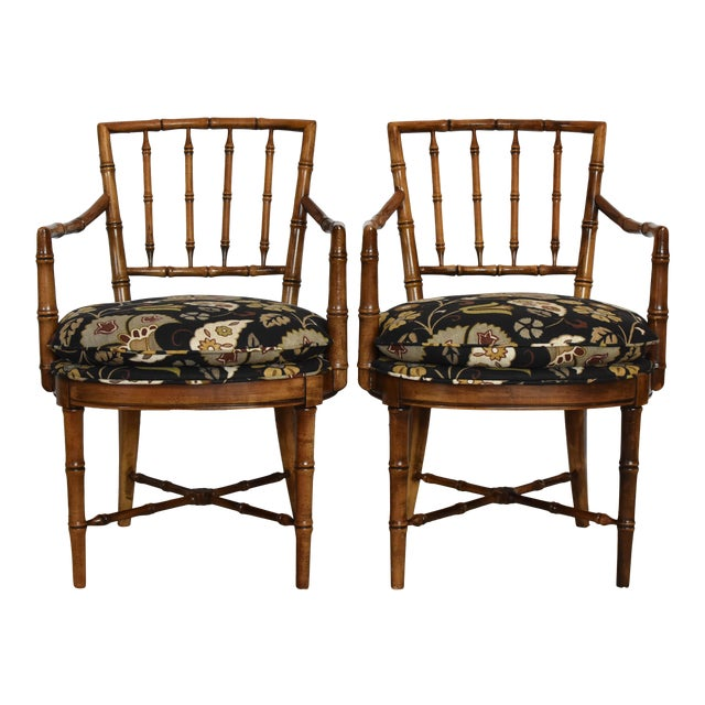 Drexel Heritage Faux Bamboo Chairs A Pair Chairish