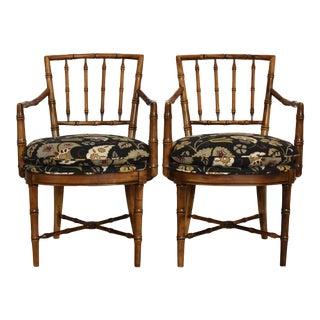 Drexel Heritage Faux Bamboo Chairs - A Pair