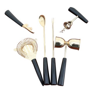 Mid-Century Gold & Black Bar Cocktail Tools - Set of 6