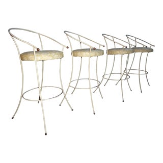 Vintage Mid-Century Modern White Wrought Iron Bar Stools- Set of 4