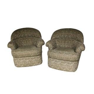Pair Mid Century Modern Swivel Lounge Chairs