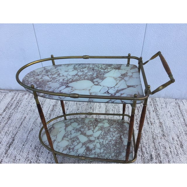 1950s Italian Brass & Walnut Bar Cart - Image 8 of 11