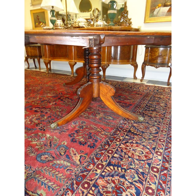 Vintage 1920s Walnut Double Pedestal Dining Table - Image 3 of 4