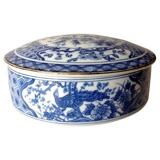 Blue & White Asian Lidded Peacock Dish