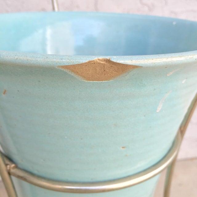 MCM Bauer Bullet Planter in Aqua + Brass - Image 7 of 8