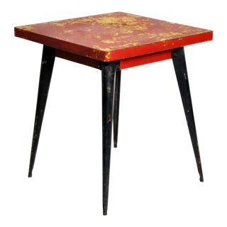 Red Metal Outdoor Café Table by Tolix