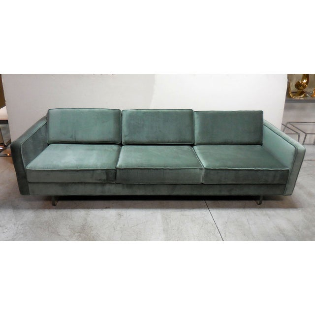 Mid-Century Modern Green Sofa With Lucite - Image 2 of 6