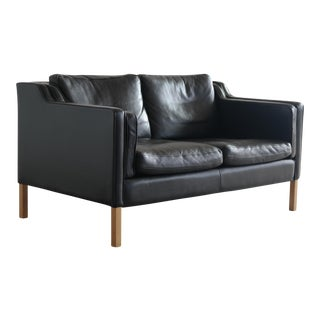 Børge Mogensen Stouby Black Leather 2 Seater Sofa