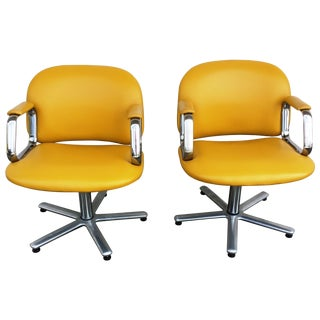 Mid-Century Yellow Upholstered Chair - A Pair