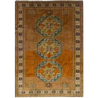 Orange Wool Pile Turkish Rug - 5′ × 7′7″