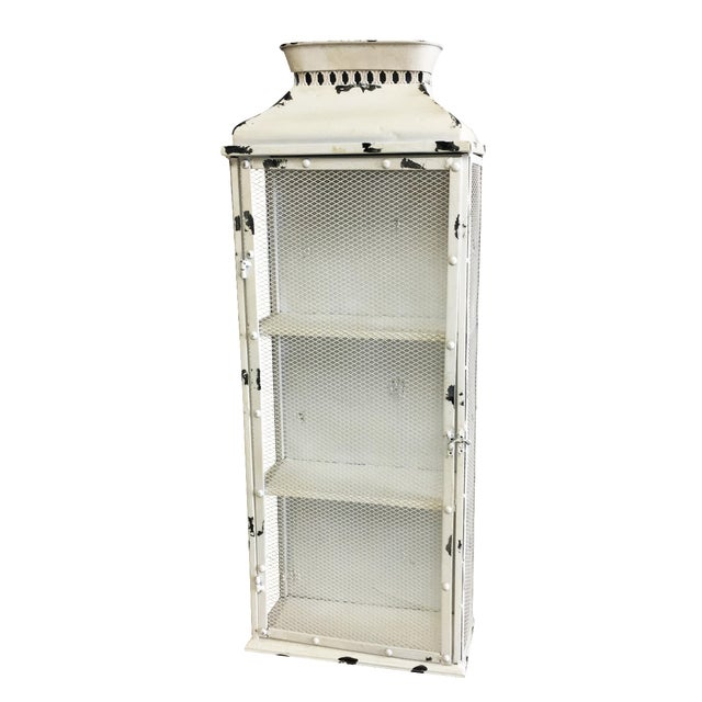 Shabby Chic White Metal Cabinet - Image 1 of 6