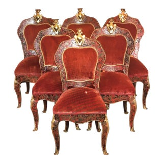 Wood & Turtle Shell Boulle Marquetry Chairs - Set of 6
