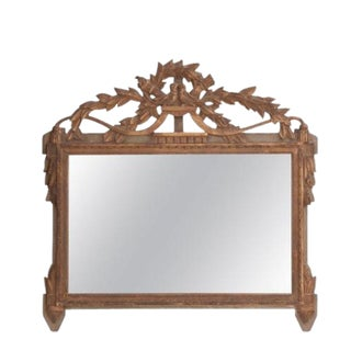 French 19th Century Louis XVI Carved Mirror with Crest