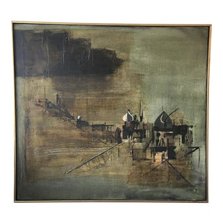"""Mid-Century Style """"Temples"""" Canvas Painting"""
