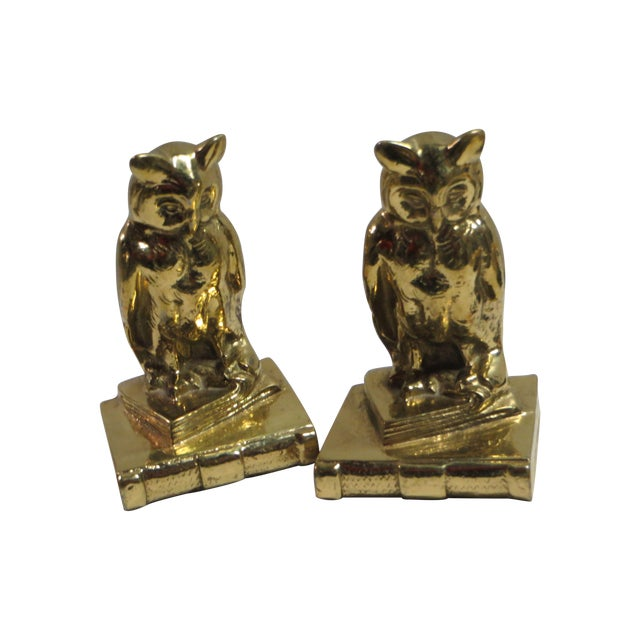 Image of Brass Owl Bookends - A Pair