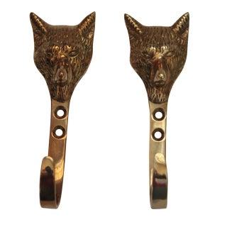 Solid Brass Fox Head Hooks - A Pair