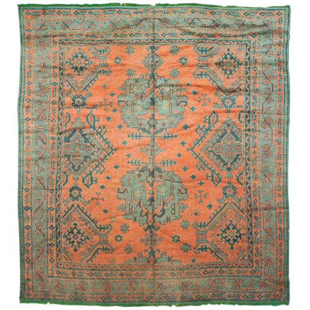 Antique Green & Orange Oushak Rug - 8′11″ × 9′7″