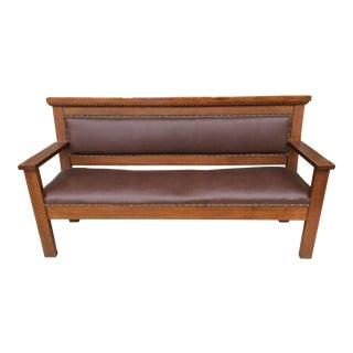 Leather Upholstered Oak Railroad Bench