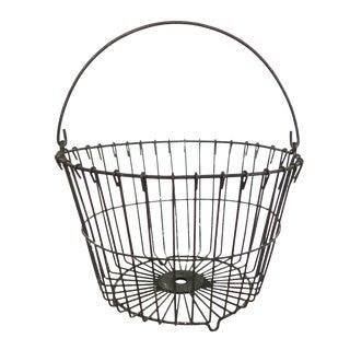 Vintage Large Black Round Metal Wire Egg Gathering Basket